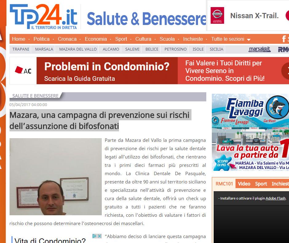 "Rassegna stampa: ""Mazara, una campagna di prevenzione sui rischi dell'assunzione di bifosfonati"""
